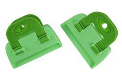 Изолированные струбцины - зеленый цвет Стоковые Фотографии RF