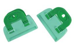 Изолированные струбцины - зелен-голубой Стоковая Фотография