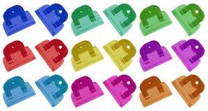 Изолированные струбцины - красочный Стоковые Изображения RF