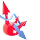 Изолированные сфера и стрелки, 3D Иллюстрация штока