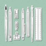 Изолированные установленные канцелярские принадлежности handmade в стиле эскиза Детали сочинительства Стоковая Фотография RF
