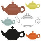 Изолированные установленные чайники вектора керамические абстрактный логос конструкции иллюстрация штока