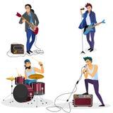 Изолированные члены рок-группы Певица музыкальной группы, барабанщик, иллюстрация вектора шаржа гитариста бесплатная иллюстрация