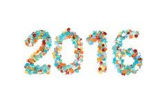 Изолированные confetti 2016 и план масленицы Стоковое Изображение RF