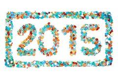 Изолированные confetti 2015 и план масленицы Стоковые Фотографии RF