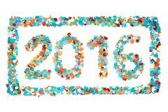 Изолированные confetti 2016 и план масленицы Стоковое фото RF