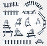 Изолированные curvy и прямые рельсы установили, железнодорожное собрание взгляд сверху, иллюстрации вектора элементов лестницы на Стоковое Изображение RF