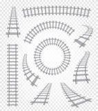 Изолированные curvy и прямые рельсы установили, железнодорожное собрание взгляд сверху, иллюстрации вектора элементов лестницы на Стоковые Изображения RF
