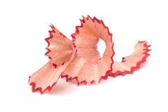 изолированные shavings карандаша Красные shavings Стоковое фото RF