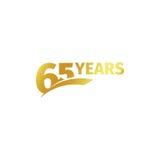 Изолированный абстрактный золотой 65th логотип годовщины на белой предпосылке логотип 65 номеров Шестьдесят пять лет юбилея Стоковые Фото