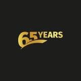 Изолированный абстрактный золотой 65th логотип годовщины на черной предпосылке логотип 65 номеров Шестьдесят пять лет юбилея Стоковое Изображение