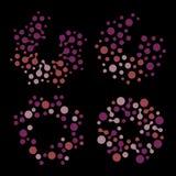 Изолированный абстрактный комплект логотипа цвета сирени округлой формы, поставленное точки стилизованное собрание логотипа солнц Стоковое Изображение RF