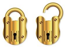 Изолированный латунный padlock Стоковое Изображение RF