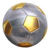 Изолированный близко вверх по золотому футбольному мячу Стоковые Изображения