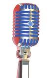 Изолированный винтажный микрофон Стоковая Фотография