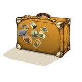 Изолированный винтажный чемодан с ярлыками иллюстрация Стоковое Изображение
