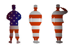 Изолированный воин армии США в 3 положениях на белой предпосылке Стоковые Изображения RF