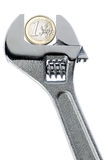 Изолированный гаечный ключ монетки евро Стоковые Изображения RF