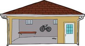 Изолированный гараж с велосипедом и входом иллюстрация вектора
