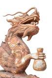 Изолированный деревянный дракон Стоковая Фотография