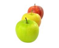Изолированный желтый цвет Яблока красный зеленый Стоковое Изображение