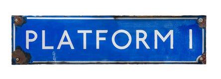 Изолированный знак железной дороги платформы Стоковые Фотографии RF