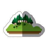 Изолированный дизайн леса и горы Стоковое Изображение