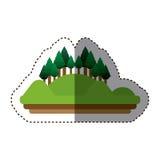 Изолированный дизайн леса и горы Стоковые Изображения