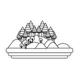 Изолированный дизайн леса и горы Стоковые Изображения RF