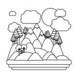 Изолированный дизайн леса и горы Стоковое Фото