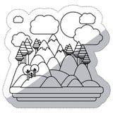 Изолированный дизайн леса и горы Стоковое фото RF