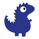 Изолированный динозавр милого шаржа вектора голубой Стоковые Изображения