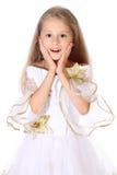 Изолированный интересовать маленькой девочки портрета милый Стоковые Изображения RF