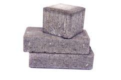 Изолированный камень новых серых декоративных кирпичей мостоваой улицы конкретных вымощая Стоковое Фото