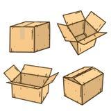 изолированный картон коробки затеняет белизну белизна коробки коробки предпосылки защищенная подарком Стоковые Фотографии RF