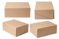 изолированный картон коробки затеняет белизну Стоковые Фото
