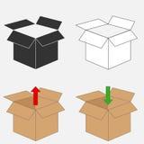 изолированный картон коробки затеняет белизну иллюстрация вектора