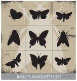 Комплект вектора знака силуэтов бабочек природы Стоковое Изображение