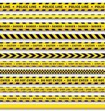 Изолированный комплект ленты полиции вектора желтый черный Стоковые Изображения RF