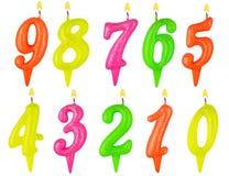 Изолированный комплект номера свечей дня рождения Стоковая Фотография