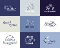 Изолированный комплект логотипа дизайна ракеты вектора Иллюстрация вектора