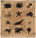 Комплект символов силуэтов животных моря подводный Стоковое Изображение RF