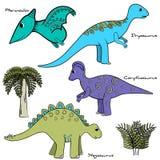 Изолированный комплект стилизованного динозавра Стоковые Изображения RF