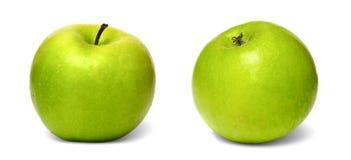 Изолированный коллаж зеленых яблок на белой предпосылке Стоковые Фотографии RF