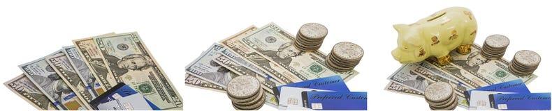 Изолированный коллаж копилки монеток банкнот кредитных карточек Стоковое фото RF