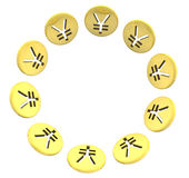 Изолированный круг символа монетки иен золотой на белизне Стоковое фото RF