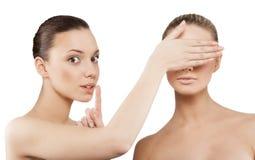 Женщины делая жест hush Стоковое фото RF