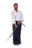 Изолированный мастер черного пояса айкидо Стоковые Фото