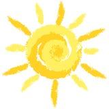 Изолированный милый Crayon Солнце, изображение вектора Стоковые Изображения