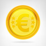 Изолированный объект валюты монетки евро золотой Стоковые Изображения RF